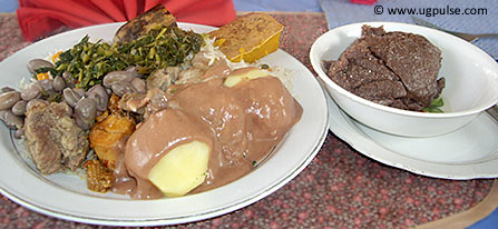 Kalo (in the dish on the left) is a common feature on menus in Ugandan restaurants these days