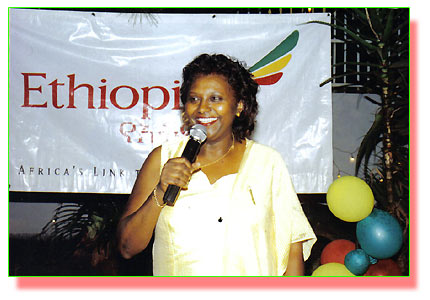 Ethiopian Airlines' area  manager for Uganda, Ermejachew Regassa makes a speech at the company's  60th anniversary
