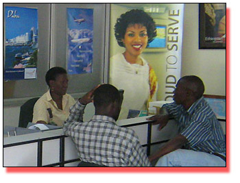Customers at  Ethiopian Airlines' Kampala office
