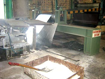 A steel sheet being rolled at the Uganda Baati factory in Kampala