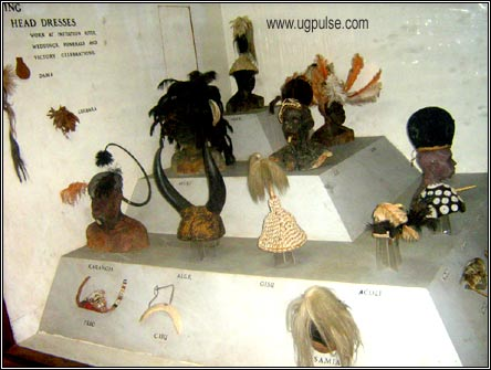 A variety of indigenous head gear from Uganda is displayed at the museum