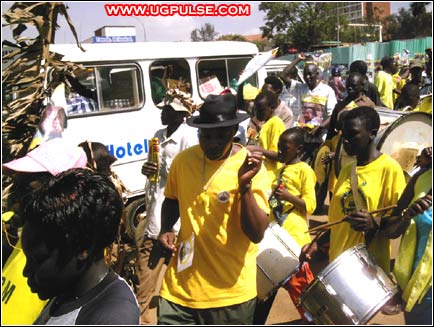 NRM supporters celebrate victory after Uganda's 2006 elections