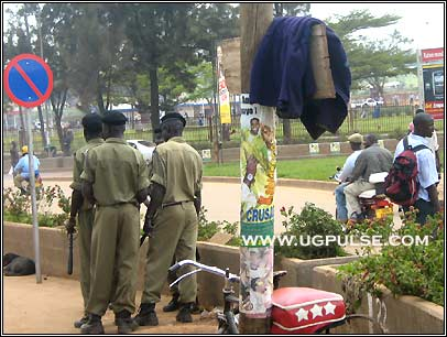 Policemen are very visible all over Kampala