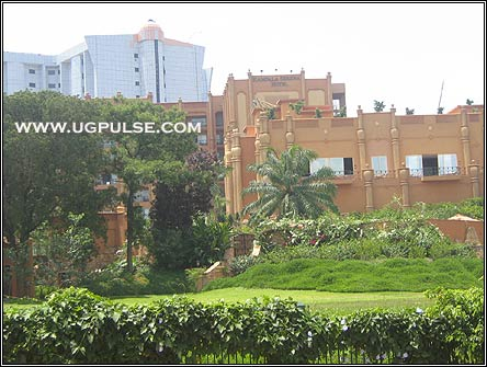 Kampala Serena Hotel. In the background is Royal Imperial Hotel