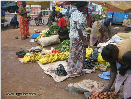 Selling Vegetable at Luzira's market