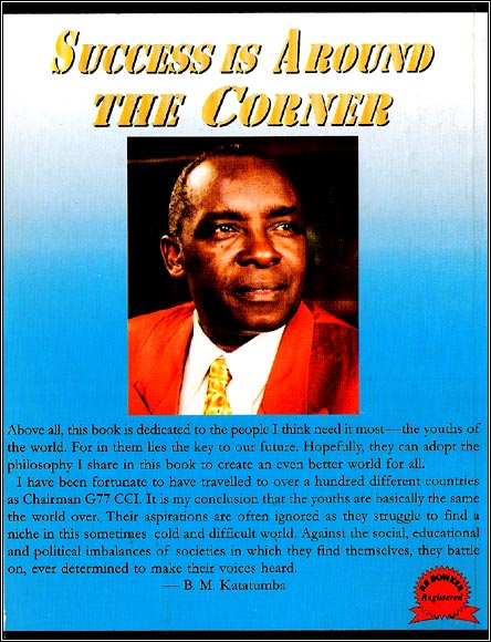 Back cover of Boney M. Katatumba's book - Success is Around the Corner