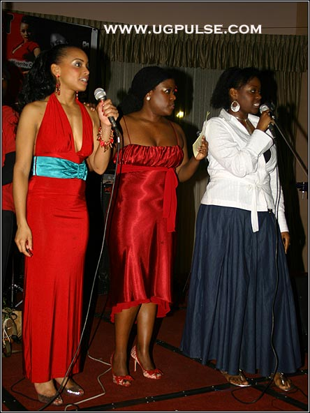 Angella Katatumba(R) enormously helped UGPulse.com hosts Mirembe Campbell(L) and Jane Nteyafas-Musoke(center) fundraise for Nyaka AIDS Orphans School at the Nyaka Eire! Concert January 2008
