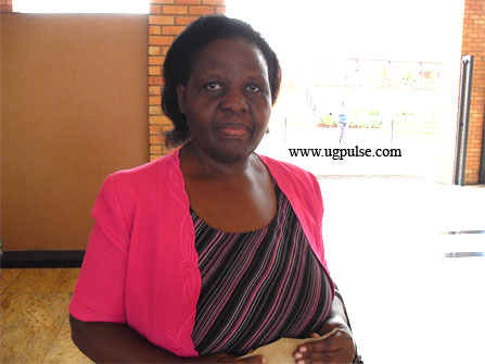 Lillian Tindyebwa in Kabira International School where she had gone to read from her works