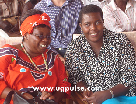 Christine Kamiti (L) and Mbale Assistant Town Clerk Rosemary Mukite