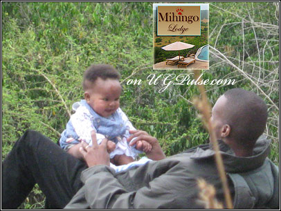 Beverley's husband and daughter at Mihingo Lodge
