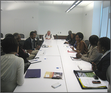 Nnabagereka Sylvia Nagginda and the Chairperson NDF and UCRF members in a meeting with doctors of Johns Hopkins University medicine International Group