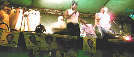 Chameleon and Bebe Cool performing at Nakivubo on Thursday.