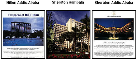 Addis Ababa Hilton, the Addis Ababa and Kampala Sheratons