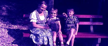 Oma in the forest with the children in 1963