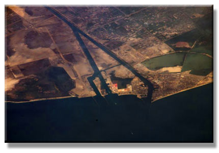 Port Said, and the entrance to the Suez Canal, viewed from the International Space Station